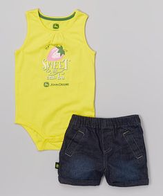 Love this John Deere Yellow 'Sweet as Can Be' Bodysuit & Denim Shorts - Infant by John Deere on #zulily! #zulilyfinds