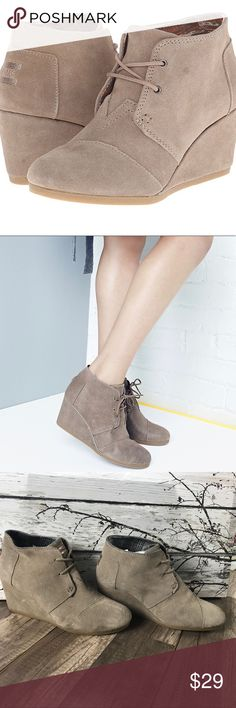 """Toms Desert Wedge Suede Bootie 10W Toms  The Desert Wedge  Suede Booties 10W  3"""" Wedge heel height  Traditional lace up for perfect fit Super comfortable  Lined inside/ quilted Plaid  Selling for my friend and these are in great shape, hardly worn.  Original Price $88.00 Toms Shoes Ankle Boots & Booties"""