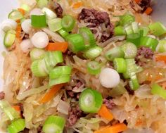 Ingredients: All you need for this recipe is two ingredients… Shredded cabbage Shredded carrot Directions: Saute as much of the above ingredients as you want in a non-stick pan with cooking spray until tender but still a bit crunchy, then set aside. Saute 2 ounces of extra lean ground beef, garlic, diced yellow onion and …