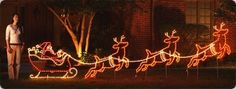 Santa Sleigh And 3 Reindeer Lighted Display 4 1 2ft H 16 Ft W