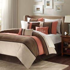 Madison Park Palisades 7-Piece Comforter Set in Coral/Natural - BedBathandBeyond.com