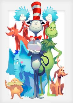 Seuss Ohh the places you ll go! Dr. Seuss, Dr Seuss Week, Looney Tunes Cartoons, Cute White Boys, Gifts For An Artist, The Lorax, Christmas Drawing, Cool Paintings, Animal Crossing