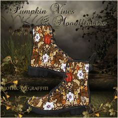pumpkin vines datura gardening baneful halloween autumn boots Pumpkin Vine, Autumn Boots, Vines, Graffiti, Gothic, Gardening, Halloween, Fall Boots, Goth