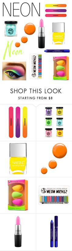 """""""Neon beauty"""" by av-leigh ❤ liked on Polyvore featuring beauty, Nails Inc., Topshop, beautyblender, MAC Cosmetics and By Terry"""
