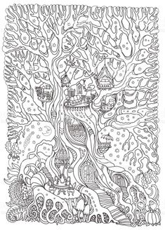 Enchanted Forest Coloring Pages | Vector Hand Drawn Fantasy Old Oak Tree With Fairy Tale ...