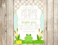 Little Frog Birthday Party Invitation by EmmyJosParties on Etsy, $12.00