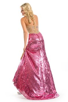 Party Time Formals 2013 Disco Pink Strapless Sweetheart Beaded Sequin Sheer Prom Dress 6010 | Promgirl.net
