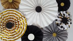 Black White and Gold Kate Spade Great Gatsby Inspired Dots and Strips Party Rosettes // Photography Backdrop by eventprint on Etsy https://www.etsy.com/listing/287155945/black-white-and-gold-kate-spade-great