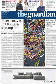 Portada de The Guardian (Reino Unido) Newspaper Frame, Cannes 2015, Own Goal, The Guardian, Battle, Editorial, The Unit, Goals, Movies