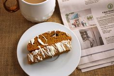 Now you can eat your pumpkin spice latte, if you choose. This biscotti is full of the wonderful pumpkin spice flavors with just a little kick.