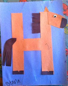 Letters, kindergarten, preschool, alphabet craft, h horse craft Preschool Letter Crafts, Alphabet Letter Crafts, Abc Crafts, Preschool Projects, Daycare Crafts, Classroom Crafts, Alphabet Activities, Preschool Crafts, Animal Alphabet