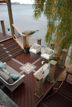 "This luxurious multi-level deck overlooking Lake Ontario was featured in ""Decked Out"" episode ""The Waterfront Deck"".  Deck Design by Paul Lafrance Design."