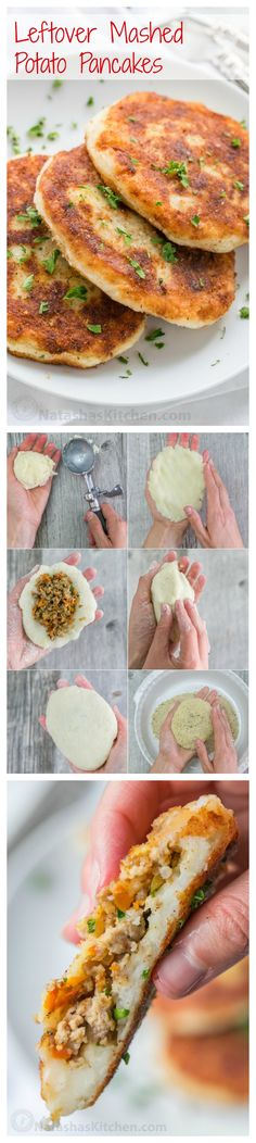 Mashed potato pancakes are a creative way to use leftover mashed potatoes! These are stuffed with a juicy meat filling - delicious!   natashaskitchen.com