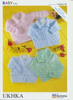 Baby & Premature Baby Knitting Pattern - Long Sleeved Cardigans & Jumper UKHKA6 - Mill Outlets