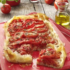 Rustic Tomato Cheese Tart Recipe -My fresh tomato tart is perfect when you want a taste of summer any time of year. The crust stays nice and crisp and the toppings are bursting with garden-fresh flavor! —Moji Dabney, Egg Harbor Township, New Jersey Tart Recipes, Appetizer Recipes, Cooking Recipes, Cooking Tips, Phyllo Recipes, Potluck Appetizers, Tomato And Cheese, Tomato Pie, Goat Cheese