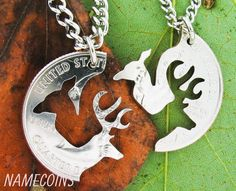 Buck and Doe Necklace Relationship Interlocking Love by NameCoins, $39.99. omfg adorable