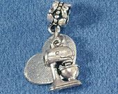 I Love Baking Silver 2 piece Charm Set Bread or Mixer Pandora Chamilia Zable Troll or Traditional Styles