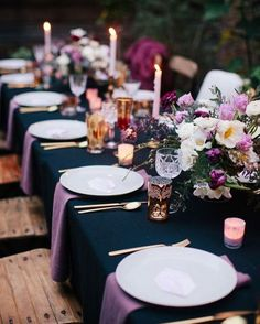 Top 9 Fall Wedding Color Schemes for and navy tableware , diy table - Table Settings Dinner Party Decorations, Dinner Party Table, Table Decorations, Outdoor Dinner Parties, Elegant Dinner Party, Fall Wedding Colors, Wedding Color Schemes, Diy Tableware, Wedding Table Settings