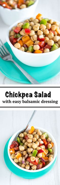 Healthy Chickpea Salad with Easy Balsamic Dressing | nourishedtheblog.com | This Healthy Chickpea Salad recipe makes for a quick and easy vegan and gluten free lunch packed with fresh veggies, lots of healthy fats and protein!