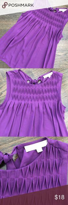 Ann Taylor LOFT Purple Sleeveless Top Shirt Sleeveless top by Loft. Bow detail on the back. Size XS. LOFT Tops Tank Tops