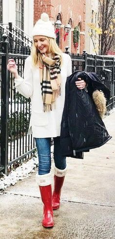 #winter #fashion /  White Beanie + White Knit + Printed Scarf + Red Boots