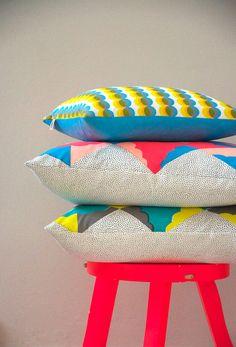 Kangan Arora Kites - Screenprinted cotton cushion (turq, peach, flouro red)