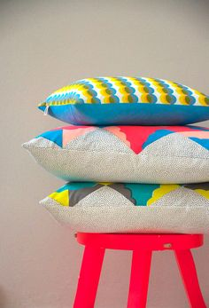 Kites - Screenprinted cotton cushion (turq, peach, flouro red)