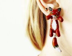 fake gauge plug two part earrings red fox , Polymerclay, handmade. 22.00, via Etsy.