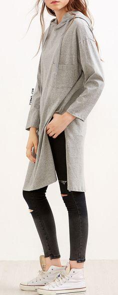 Grey Drop Shoulder High Slit Drawstring Hooded Sweatshirt