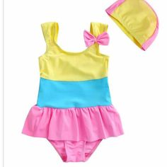 d1673f4a7c0b8 Summer Hues Lovely Swimsuit With Cap. Baby SwimsuitOne Piece SwimsuitGirls  Bathing SuitsKids ...