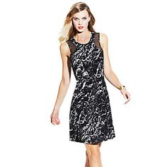Marble Stone Dress-Party all day and night in the printed illusion racerback dress. The marble print on the Vince Camuto Sheer Inset Marble Stone Dress adds a fa.ade of texture. Perfect year round.    95% Polyester,5% Spandex