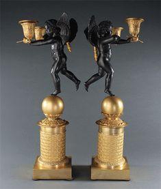 French Empire 'Garde à Vous' ormolu and patinated bronze candelabra. Candelabra, Candlesticks, French Empire, Lamps, Bronze, Candle Holders, Lightbulbs, Chandelier, Light House