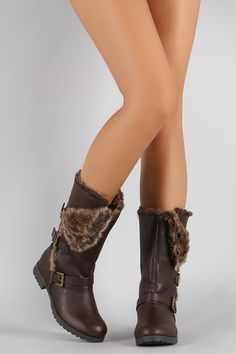 These mid calf boots feature a plushy folded faux fur collar design, round toe silhouette, triple straps with buckles fastening, and low block heel. Faux Fur Collar, Fur Collars, Vegan Leather, Leather Men, Fold Over Boots, Shoe Boots, Shoe Bag, Women's Shoes, Collar Designs