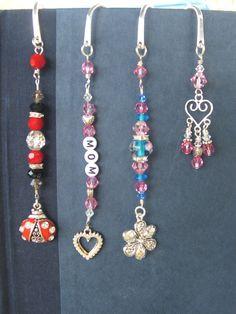 shepherds hook bookmarks in swarovski crystal, sterling, glass, and pewter...handmade by me =)