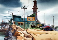 Edward Reep  Cafe, 1947  Watercolor on paper