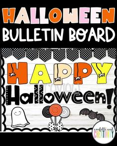 Getting your classroom bulletin board ready for Halloween has never been so easy! Check out this not-so-scary, kid-friendly Halloween bulletin board display! Holiday Bulletin Boards, Halloween Bulletin Boards, Teacher Bulletin Boards, Halloween Letters, Bulletin Board Display, High School Classroom, Classroom Walls, Classroom Design, Kindergarten Classroom
