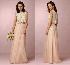 4c76d1cbcd1 2016 Blush Pink Two Piece Long Bridesmaid Dresses Top Ivory Lace Floor  Length Wedding Guest Gown