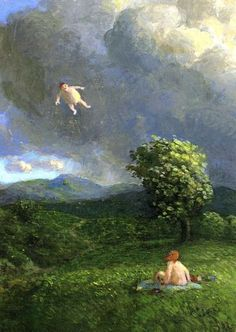 Flying Man Woman Picnic Storm Strong Wind MICHAEL SOWA Art Postcard