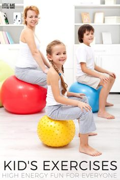 Fun kids exercises that are simple for families to do at home. These kids exercises make a great circuit for high energy fun. Healthy bodies for kids with plenty of activity also equals healthy minds. Simple kids exercises everyone can do together.