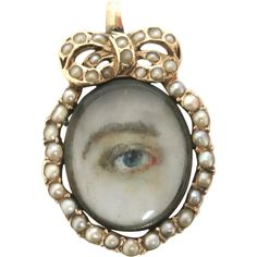 Georgian 18K Gold Lover's Eye Miniature with Pearl Border.