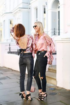 How to Wear Bows - Belle & Bunty Blog    Black Denim, Pink Tops, Sequins, Girly, Silk, Back, Bows, Black Heels, Blonde and Brunette, London Houses, London Style, Fashion Bloggers, Belle & Bunty