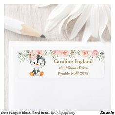 Cute Penguin Blush Floral Return Address Label
