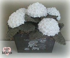 Gehaakte witte hortensia