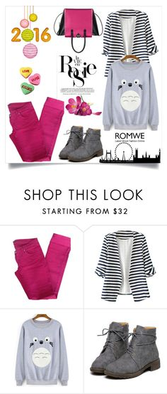 """""""Romwe-sweatshirt"""" by pamra1 ❤ liked on Polyvore featuring BELAIR, WithChic, Whiteley, Valentino and romwe"""