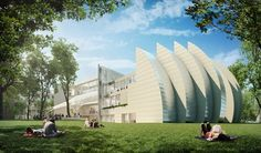 Sculptural building with curves. See more of this building from different angles.