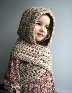 Crochet Hoodies Riley's christmas present, this is the base idea. Crochet Patterns crochet hat by LuzPatterns, Crochet Hooded Scarf, Crochet Scarves, Crochet Shawl, Crochet Clothes, Knit Crochet, Moda Crochet, Crochet Girls, Crochet For Kids, Crochet Baby
