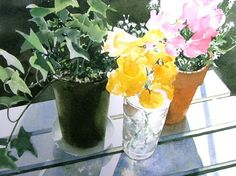 Lovely pink and yellow flowers beside a pot of ivy. Watercolor painting by artist Abe Toshiyuki. Watercolor Sketchbook, Watercolor Artists, Watercolor And Ink, Watercolor Illustration, Watercolour Painting, Watercolor Flowers, Watercolors, Toulouse, Japanese Watercolor