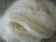 Brushed mohair blend yarn natural by yellowdogfarmvt on Etsy, $20.00