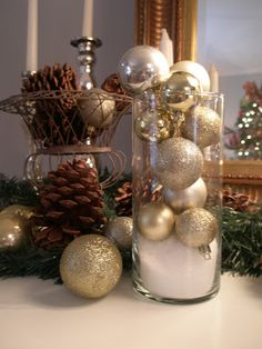 CHRISTMAS DECOR spray paint those cheap ornaments from dollar store however you want!
