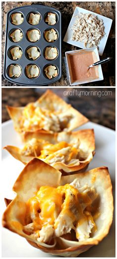 Buffalo Chicken Wonton Cups Recipe Cup of Cheddar Cheese 24 Wonton wrappers Shredded chicken 1 Cup Franks Hot Sauce Cup ranch dressing block of cream cheese Tapas, Wonton Recipes, Appetizer Recipes, Cheese Recipes, Buffalo Chicken Wontons, Wonton Cups, Wonton Wrappers, Finger Food Appetizers, Party Appetizers